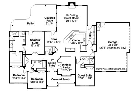 prairie style home floor plans prairie style house plans fall creek 30 755 associated