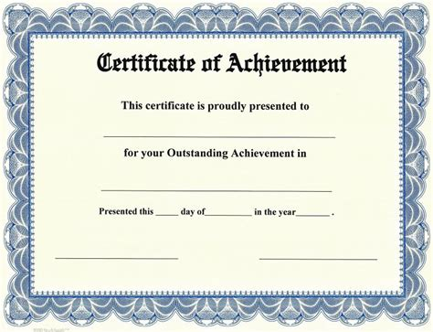 free certificate of achievement templates for word certificate of achievement on stocksmith border qty 20