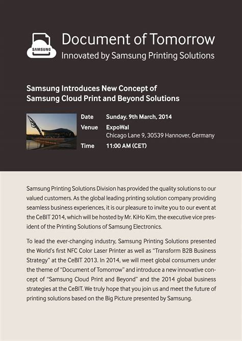 Invitation Letter Brazil Samsung Invites You To Learn More About New Concept Printing Solutions At Cebit 2014 Samsung