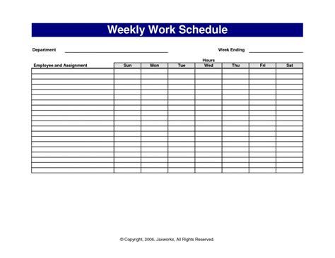 template for a schedule weekly work schedule template template business