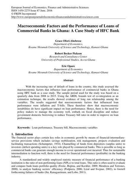 hfc bank loans macroeconomic factors and the performance of loans of