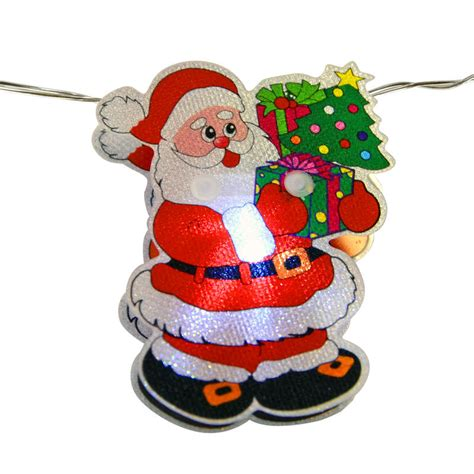 10 battery operated white led pvc santa claus lights