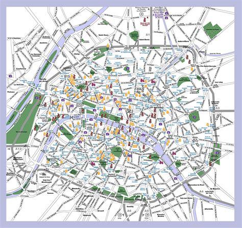 printable paris road map maps update 1024673 paris tourist attractions map