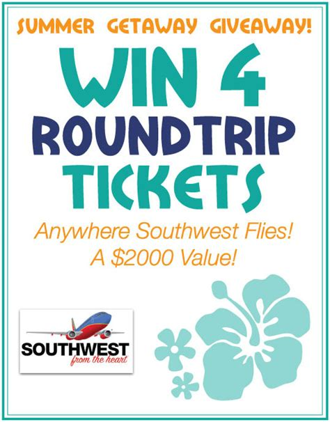 Southwest Airline Free Ticket Giveaway - summer vacation giveaway win 4 southwest airlines tickets
