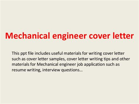 mechanical engineering cover letter mechanical engineer cover letter