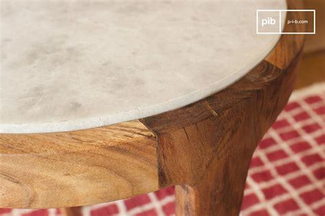 salontafel hout wit combinatie marmori ronde bijzettafel combinatie van wit marmer en
