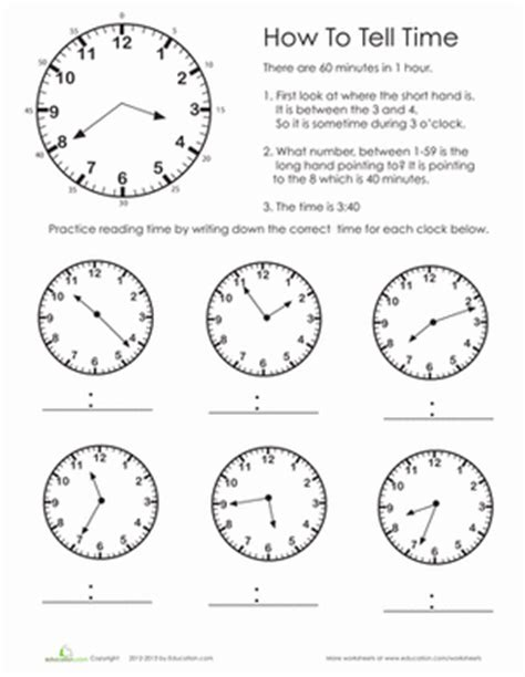 printable clock quiz practice test telling time worksheet education com
