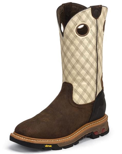justin pull on work boots justin s commander 11 quot eh square toe pull on work