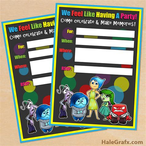 inside out printable party decorations free printable disney pixar inside out birthday invitation
