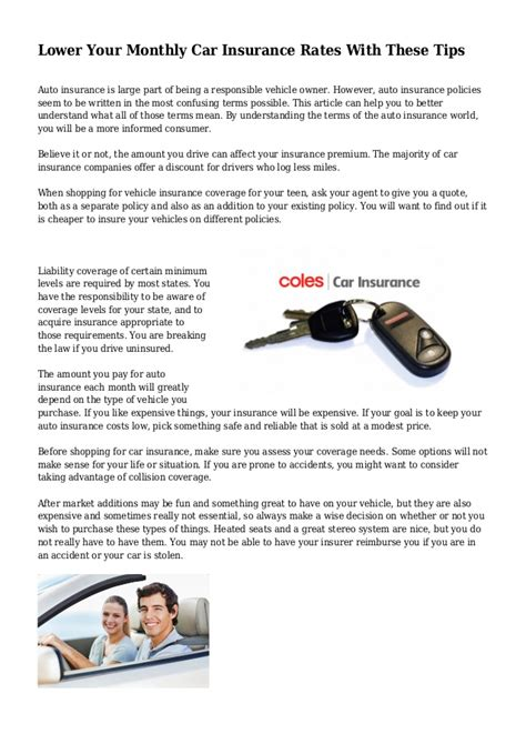 Monthly Car Insurance by Lower Your Monthly Car Insurance Rates With These Tips