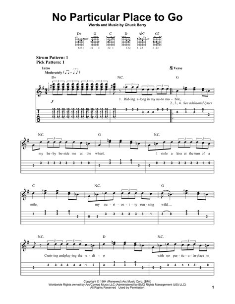 The Place Guitar Tab No Particular Place To Go Sheet By Chuck Berry Easy Guitar Tab 153463
