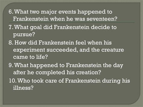 themes in frankenstein chapter 7 ppt frankenstein chapters 1 5 powerpoint presentation