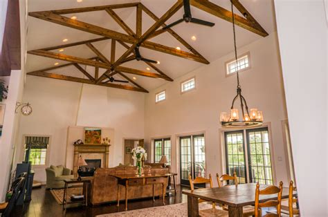 Cathedral Ceiling House Plans 3 Lancaster Farm Living Dining Room With Cathedral