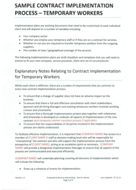 Contract Implementation Plan Template To Help Recruitment Agencies With Tender Writing Project Implementation Agreement Template