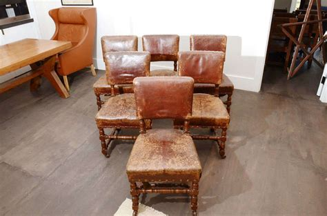 Rustic Leather Dining Room Chairs by Set Of Six Rustic Leather Chairs Image 4