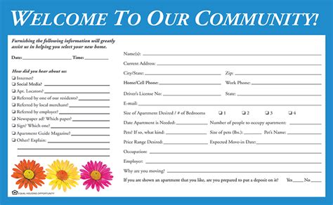 Printable Guest Cards For Apartments