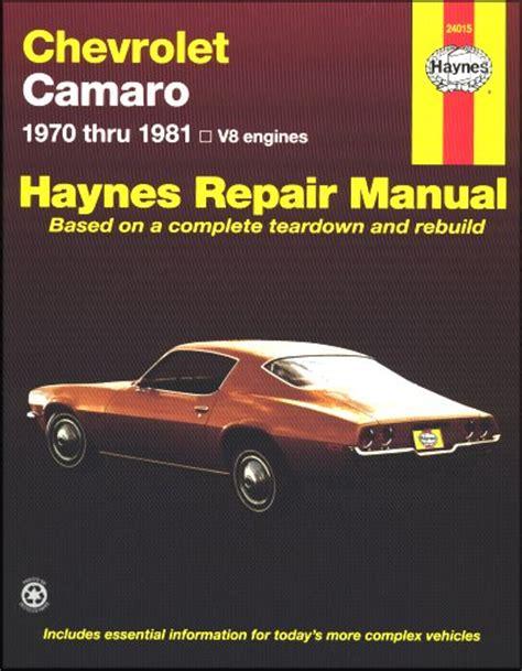 motor repair manual 1970 chevrolet camaro on board diagnostic system camaro z28 lt rally sport berlinetta repair manual 70 81