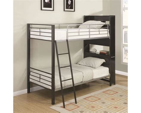 coaster bunk beds coaster bunk bed w bookshelf headboard and roll out table co 460021