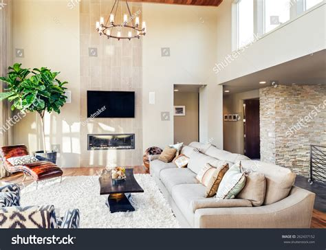 Beautiful Living Room With Tv Beautiful Living Room Hardwood Floors Tv Stock Photo