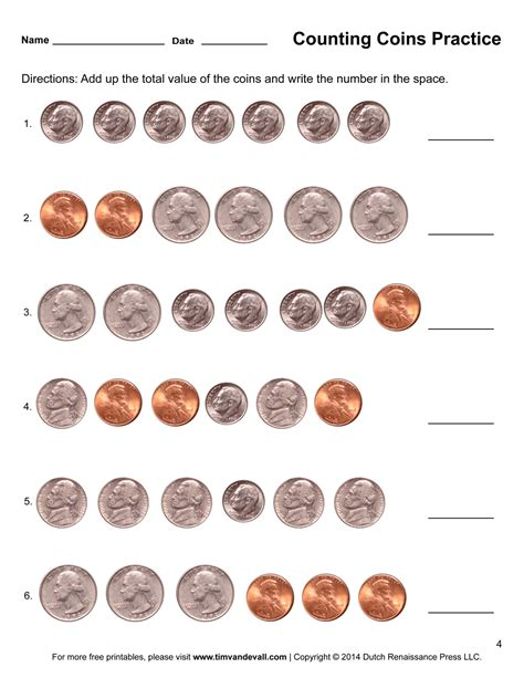 Adding Coins Worksheet counting coins worksheets printable grade math