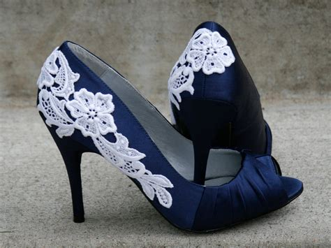 Navy And White Shoes For Wedding by Navy Blue Shoes With Venise Lace Applique Size 7 69 00