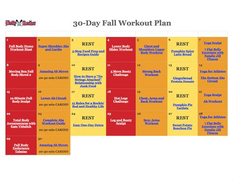 30 day home workout plan 30 day fall workout plan calendar betty rocker