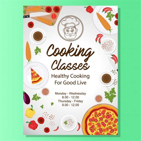 new year baking class cooking classes poster design vector free
