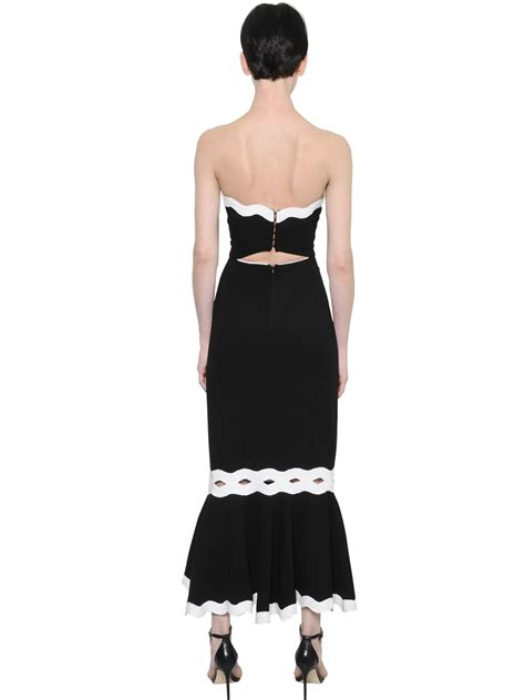 43798 White Trim Dress jonathan simkhai strapless crepe dress w decorative trim in black lyst