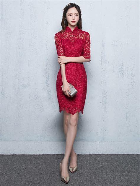 Sleeve Lace Qipao half sleeve lace qipao cheongsam dress