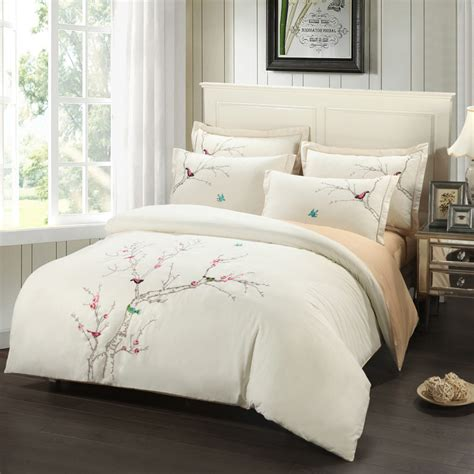 Bedding King Size Sets Embroidery Plum Tree Magpie Birds Cotton Bedding Sets King Size Duvet Cover Set Beige Pink
