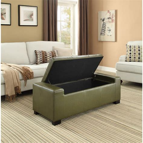 simpli home laredo rectangular storage ottoman large dark brown simpli home cosmopolitan rectangular tufted faux leather