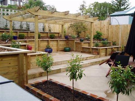 uphill backyard landscaping deck at back of yard interesting solution for slopes