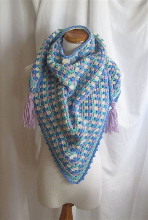 Blue Gypsea Crochet 1 crochet triange scarf shawl blue purple and green with tassels shawl scarves and crochet