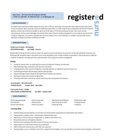 registered resume exle 6 free word pdf