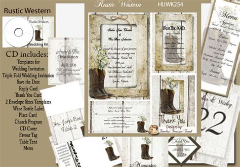 rustic cowboy boots wedding invitation kit on cd ebay