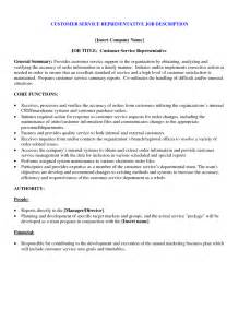 customer service description template customer service representative description resume