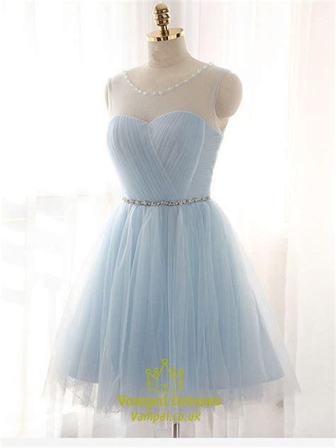 light blue sleeveless short tulle homecoming dress