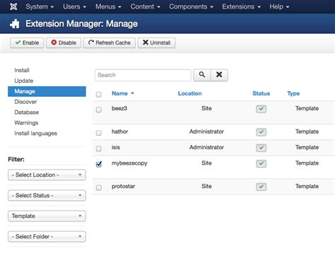 joomla template uninstall administration where is the copy template button in