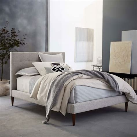 upholstered tufted bed grid tufted upholstered tapered leg bed west elm