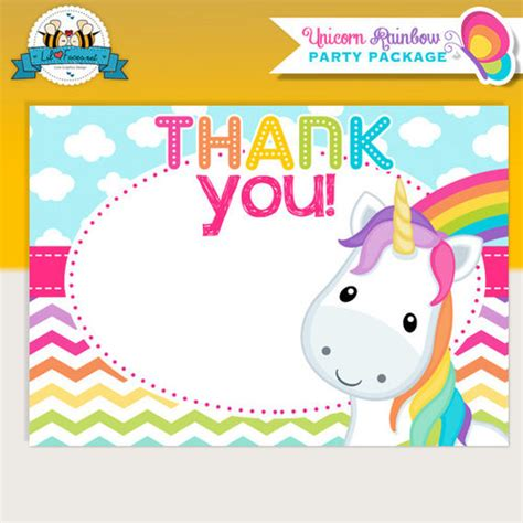 Printable Unicorn Thank You Cards | unicorn rainbow party thank you cards