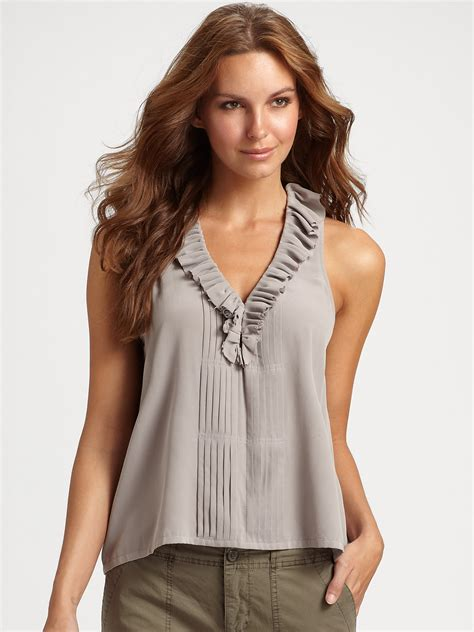 Rufle Top lyst joie pleated silk ruffle top in gray