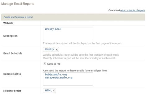 email metrics report template manage email reports analytics platform piwik