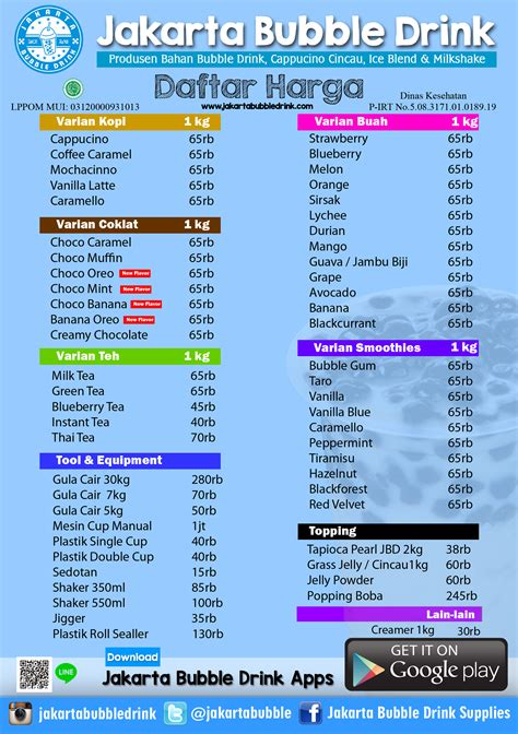 Bubuk Cappucino Buble Gold jakarta drink supplier bahan baku drink jual bahan drink grass jelly