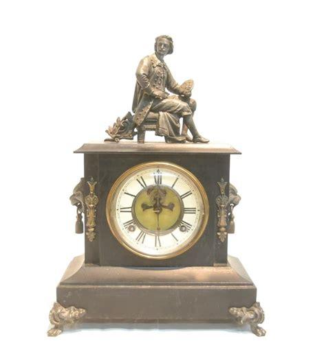 open escapement waterbury metal mantle clock