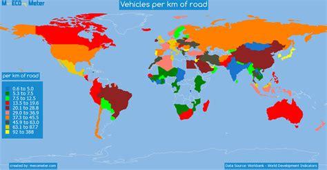 usa map km vehicles per km of road united states