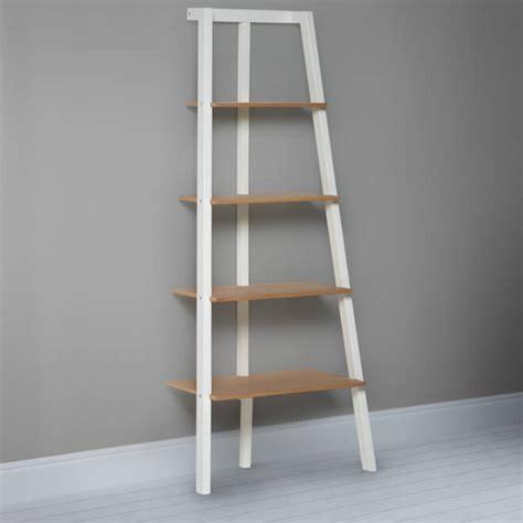 oak leaning shelves ladder style bookshelves storage ideas