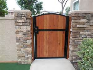 Wooden gate solid redwood metal contemporary iron garden wood entry