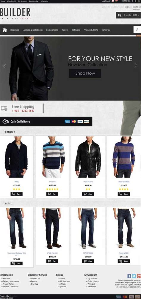opencart template builder 25 top opencart templates for shopping