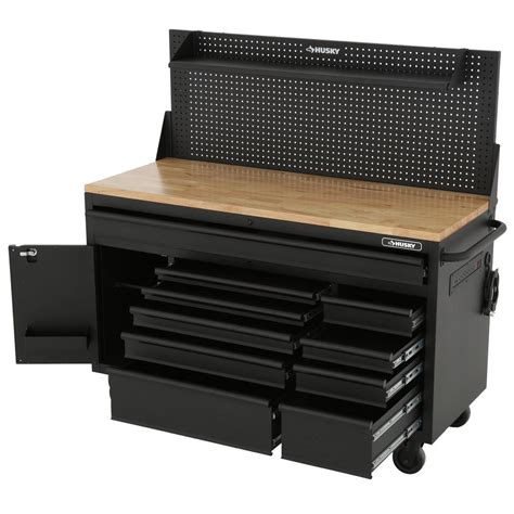husky bench husky 60 quot mobile workbench delivers big on storage and