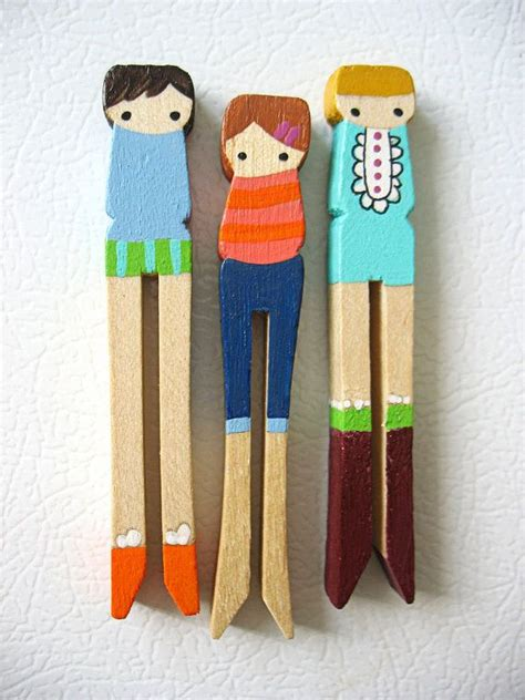 Epingle A Linge Decorative 4472 by Handmade Wooden Folk Clothespin Magnets With
